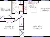 28×40 Two Bedroom House Plans Floor Plan