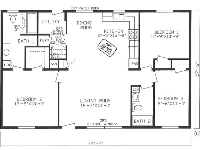 3 Bedroom 2 Bath Mobile Home Floor Plans 2 Bedroom 2 Bath Open Floor