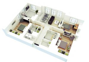 3d Home Floor Plan Design 25 More 3 Bedroom 3d Floor Plans