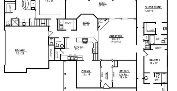 4 Bedroom Home Floor Plans 4 Room House Plans Home Plans Homepw26051 2 974 Square