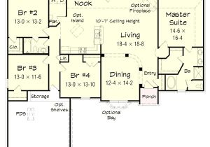 4 Bedroom Ranch Home Plans 4 Bedroom Brick Ranch Home Plan 68019hr 1st Floor