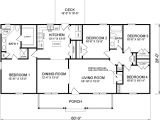 4 Bedroom Ranch Home Plans House Plan 45467 at Familyhomeplans Com