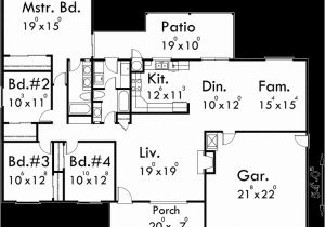 4 Bedroom Ranch Home Plans One Story House Plans Ranch House Plans 4 Bedroom House