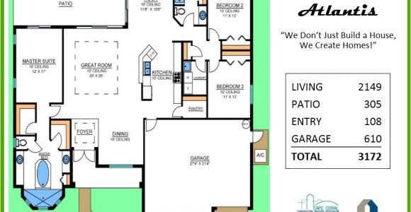 Atlantis Homes Floor Plans atlantis Floor Plan Tracey Homes Swfl Custom Built Homes