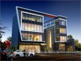 Commercial Home Plans Corporate Building Design 3d Rendering Exclusive Night View