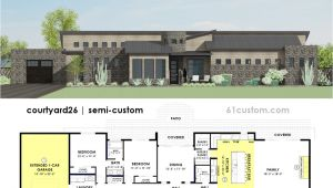 Courtyard Homes Plans Contemporary Side Courtyard House Plan 61custom