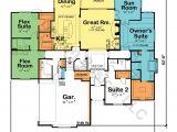 Dual Master Suite Home Plans Single Story House Plans with Dual Master Suites Cottage