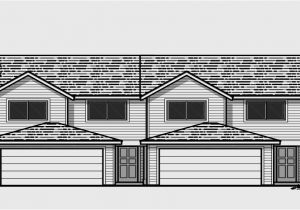 Duplex Home Plans with Garage Duplex House Plans 25 Ft Wide House Plans D 434