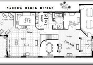 Free Australian House Designs and Floor Plans Australian Narrow Lot 4 Bedroom Guest Room Cinema