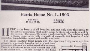 Harris Home Plans Website 1918 Harris Bros Co Kit Home Catalog Plan L 1503 One