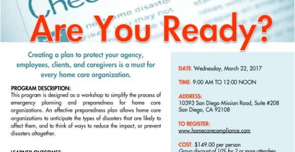 Home Care Emergency Preparedness Plan Emergency Preparedness are You Ready California Home