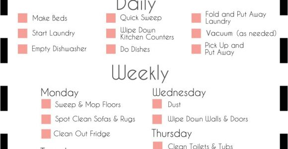 Home Cleaning Plan A Basic Cleaning Schedule Checklist Printable