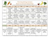 Home Meal Plans 1st Week Back to School Meal Plan the Nourishing Home