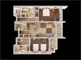 Home Plan 3d View 3d Floor Plans Caribe Hilton San Juan