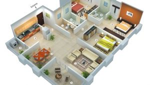 Home Plans 3d 25 More 3 Bedroom 3d Floor Plans