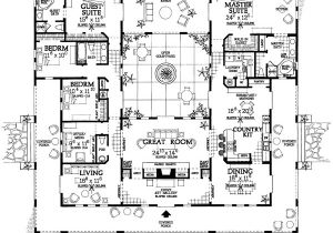 Home Plans with Courtyard In Center Open Courtyard House Plan Hunters