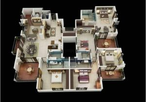 House Design Plans 3d 4 Bedrooms 4 Bedroom House Floor Plans 3d House Floor Plans