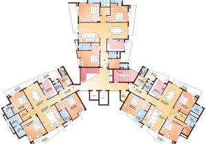 House Floor Plans with Observation tower Room and Bhk Flats Golf Course Road Gurgaon Parsvnath Exotica