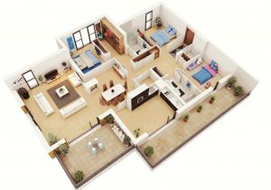 House Plans for Three Bedroom Homes 25 More 3 Bedroom 3d Floor Plans