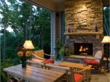House Plans with Porches and Fireplaces Corner Outdoor Fireplace Porch Rustic with Ceiling Fan