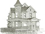 House Sketches Home Plans Victorian House Line Drawing Design Basic 10 On Inside
