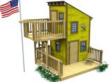 Kids Club House Plans Deluxe Loft Clubhouse Plan Playhouses Porch and