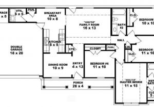 One Level Home Plans with Bonus Room 4 Bedroom House Plans Single Story Savae org