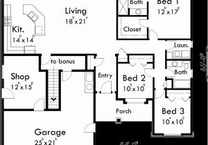One Level Home Plans with Bonus Room One Story House Plans House Plans with Bonus Room Over