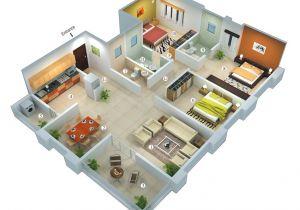 Plan Home 3d 25 More 3 Bedroom 3d Floor Plans