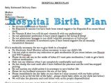 Planning A Home Birth Example Of Hospital Birth Plan Free Printable