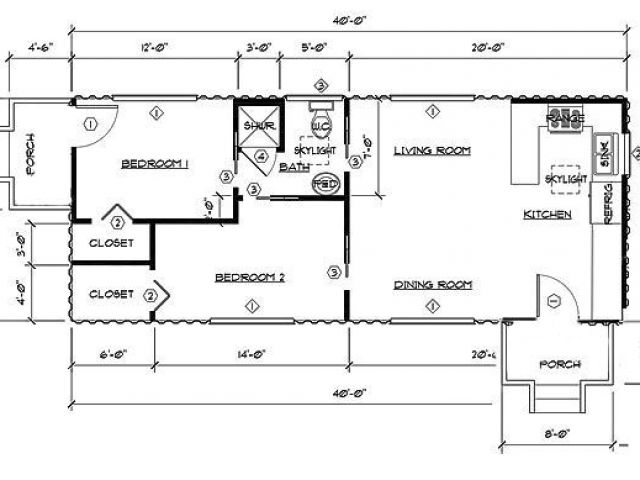 Shipping Container Home Plans Amp Drawings Two Bedroom One Bath