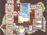 Spanish Home Plans Center Courtyard Pool Hacienda Style Homes Spanish Hacienda Floor Plans
