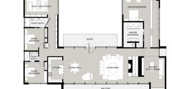 U Shaped Home Plans U Shaped House Plans with Courtyard Houses Pinte